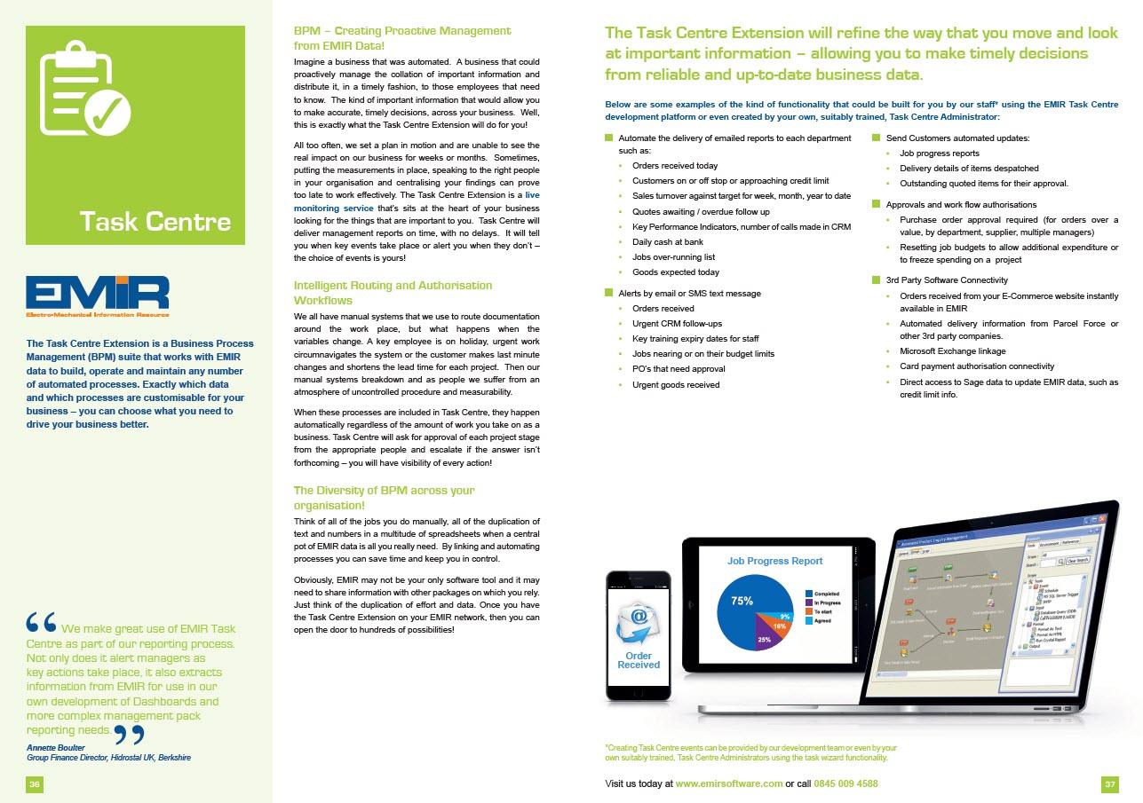 Task Centre | EMiR - Electro-Mechanical Information Resource